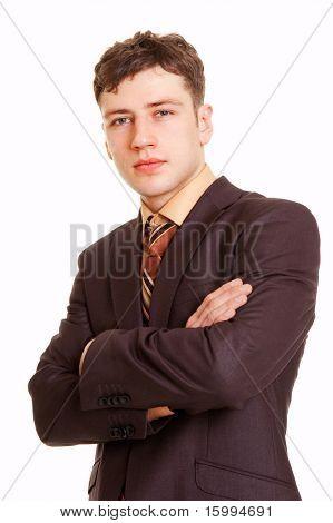 portrait of persistent businessman against white background