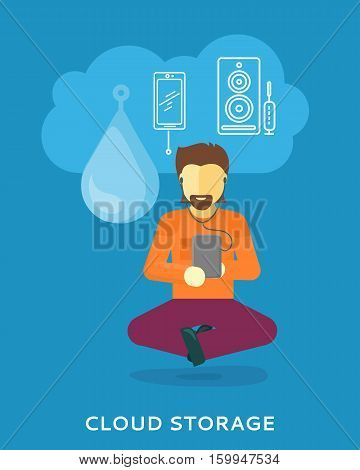 Cloud storage design concept. Man uses cloud storage on tablet. Storage and cloud computing backup online data network internet web storage connection. Vector design illustraion in flat style