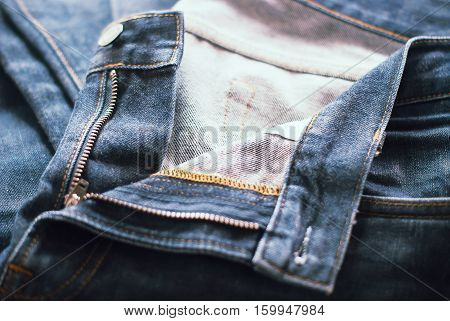 Close-up Jeans Zip type and Button, Men Concept