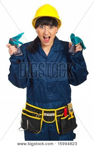 Surprised Funny Worker Woman