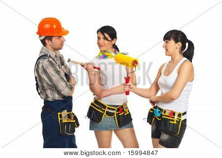 Two Sexy Women Flirting With Workman
