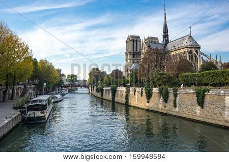 PARIS FRANCE - OCTOBER 12 2015: Notre-Dame de Paris (French for