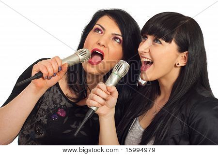 Beauty Women Singing At Karaoke