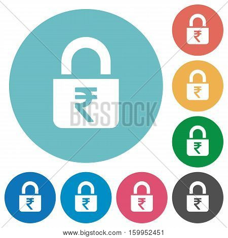Locked rupees white flat icons on color rounded square backgrounds