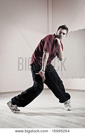 cool hip-hop boy is dancing