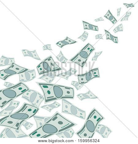 Money flow, falling dollars currency isolated on white vector illustration. Money fly, finance income money illustration