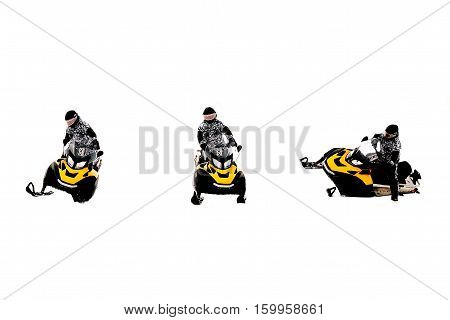 Man on snowmobile. Isolated on white background. Winter sports and entertainment. Set.