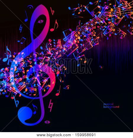 Vector music equalizer waves background, spectrum abstract illustration.