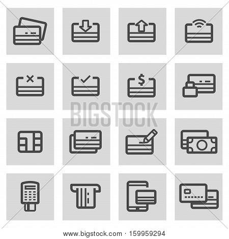 Vector line credit card set on grey background