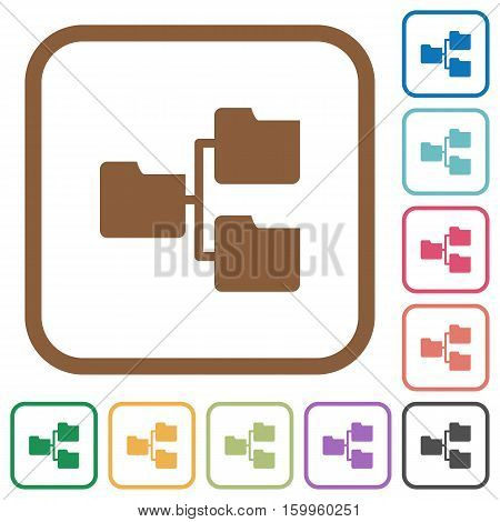Shared folders simple icons in color rounded square frames on white background