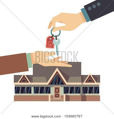 Selling and buying house real estate vector business concept with hands and home key. Buy real estate, key from apartment home illustration