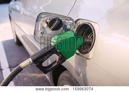 Close up Car refueling on a petrol station