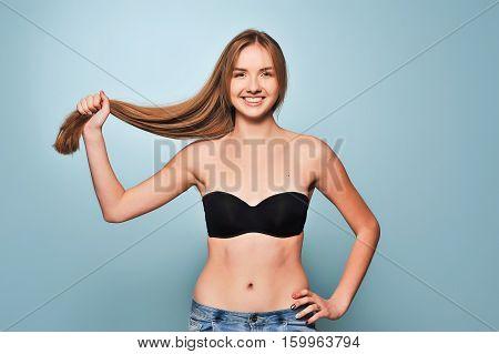 Beautiful Girl Holding Her Hair