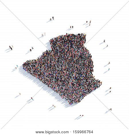 Large and creative group of people gathered together in the form of a map Algeria. 3D illustration, isolated against a white background