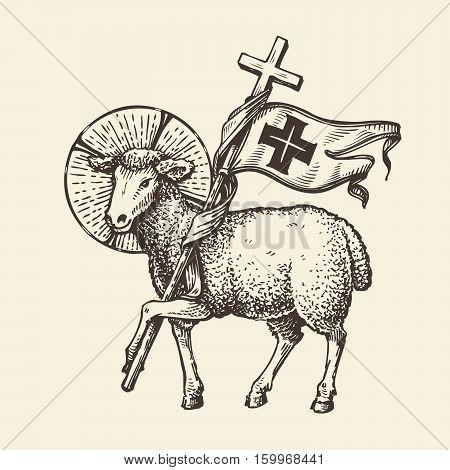 Lamb or sheep holding cross. Religious symbol. Sketch
