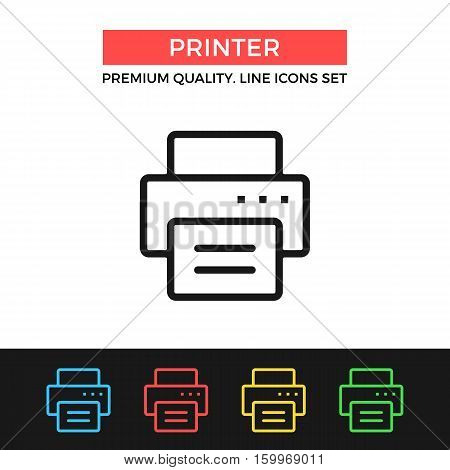 Vector printer icon. Copy, printing document. Premium quality graphic design. Modern signs, outline symbols collection, simple thin line icons set for websites, web design, mobile app, infographics