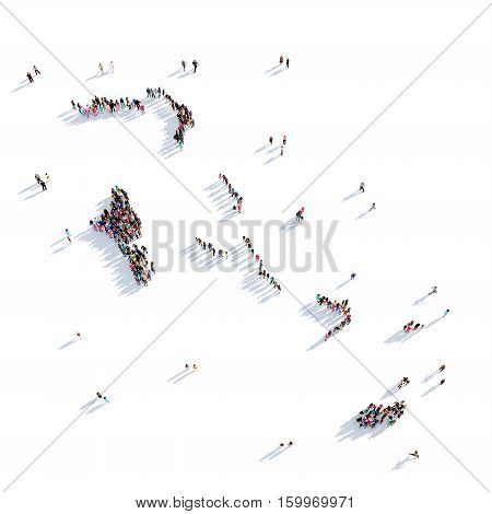 Large and creative group of people gathered together in the form of a map Bahamas. 3D illustration, isolated against a white background.