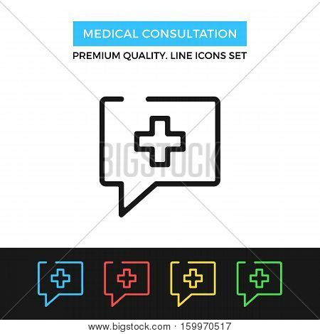Vector medical consultation icon. Doctor advice. Premium quality graphic design. Modern signs, outline symbols collection, simple thin line icons set for websites, web design, mobile app, infographics