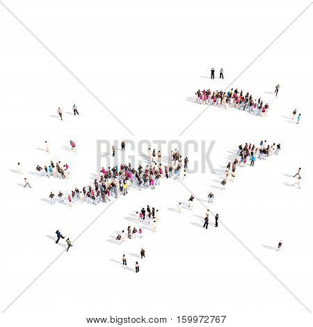 Large and creative group of people gathered together in the form of a map British Virgin Islands. 3D illustration, isolated against a white background.