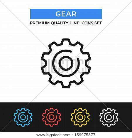 Vector gear icon. Cogwheel, cog wheel, industry. Premium quality graphic design. Modern signs, outline symbols collection, simple thin line icons set for websites, web design, mobile app, infographics