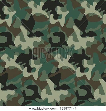 Abstract Military Camouflage Background Made of Splashes. Seamless Camo Pattern for Army Clothing.