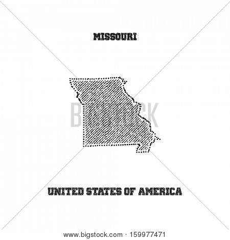 Label with map of missouri. Vector illustration.