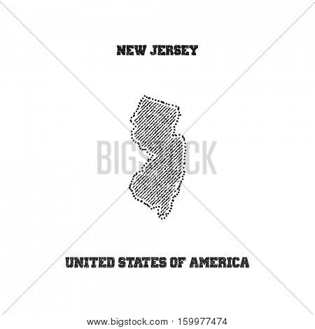 Label with map of new jersey. Vector illustration.