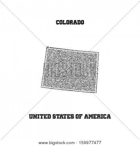 Label with map of colorado. Vector illustration.