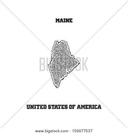 Label with map of maine. Vector illustration.