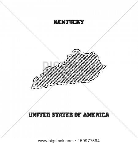 Label with map of kentucky. Vector illustration.