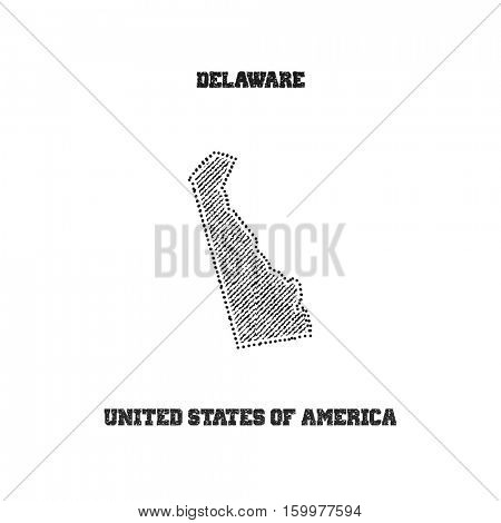 Label with map of delaware. Vector illustration.