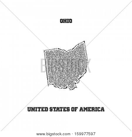Label with map of ohio. Vector illustration.