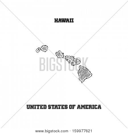 Label with map of hawaii. Vector illustration.