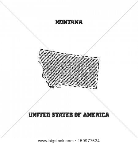 Label with map of montana. Vector illustration.