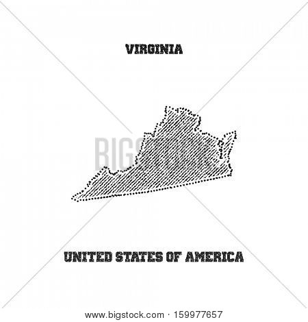Label with map of virginia. Vector illustration.