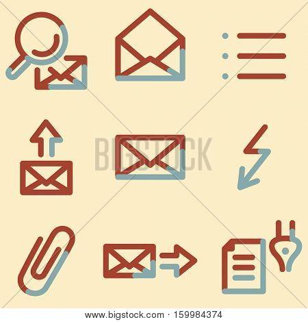 E-mail icons light blue contour