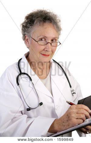 Mature Female Doctor With Chart