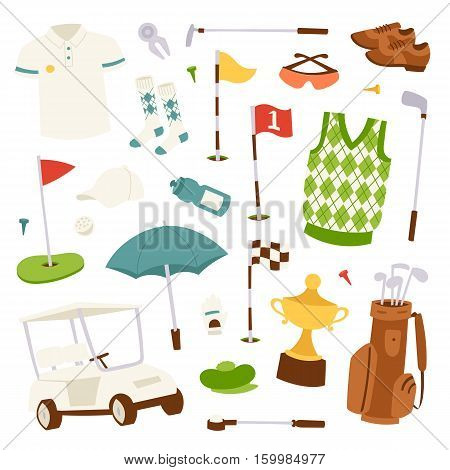Vector set of stylized golf icons hobby car equipment. Collection cart player golf sport symbol flag hole game. Vector sign patch set bag hobby golfer car equipment.
