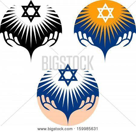 Star of David icons. Hanukkah symbol isolated on white background