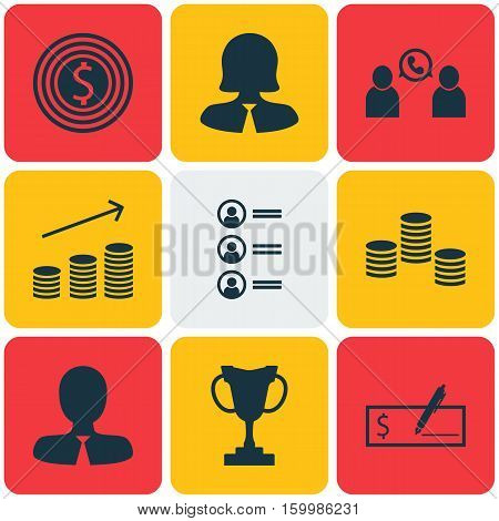 Set Of 9 Hr Icons. Can Be Used For Web, Mobile, UI And Infographic Design. Includes Elements Such As Increase, List, Conference And More.