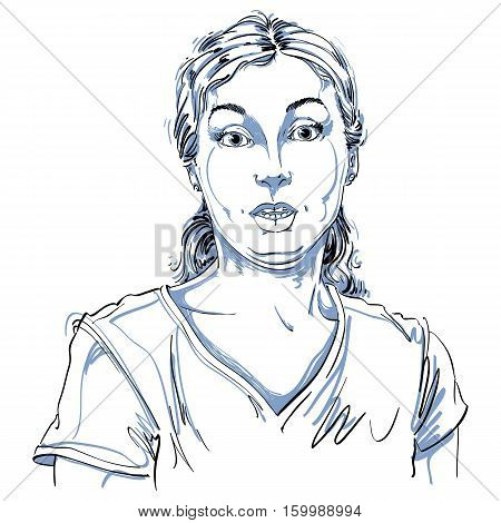 Portrait Of Skeptic Or Cynic Woman, Dizzy Girl. Black And White Vector Drawing. Emotional Expression
