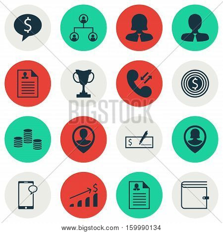 Set Of 16 Hr Icons. Can Be Used For Web, Mobile, UI And Infographic Design. Includes Elements Such As Purse, Resume, Goal And More.