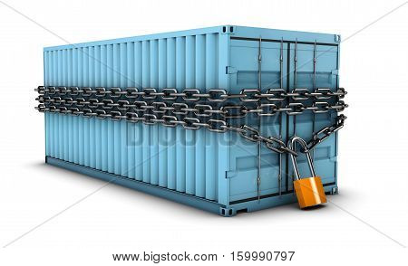 3d Illustration of locked container on white background