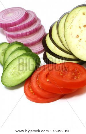 fresh sliced cucumbers tomatoes onion and egg-plant