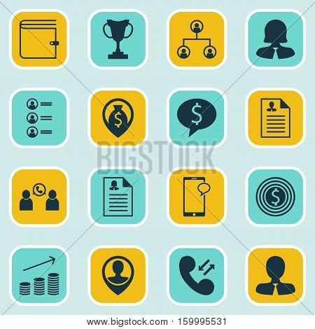 Set Of 16 Hr Icons. Can Be Used For Web, Mobile, UI And Infographic Design. Includes Elements Such As Phone, Map, Call And More.