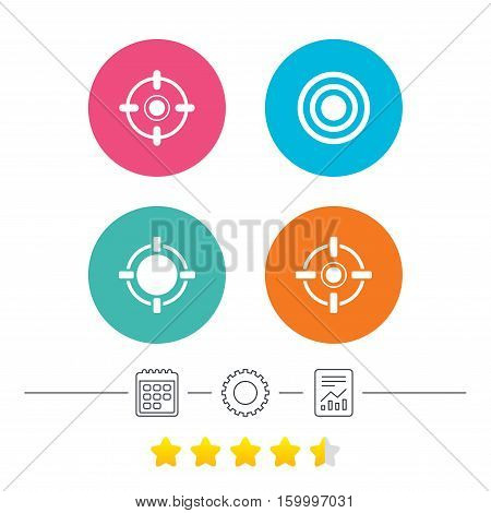 Crosshair icons. Target aim signs symbols. Weapon gun sights for shooting range. Calendar, cogwheel and report linear icons. Star vote ranking. Vector