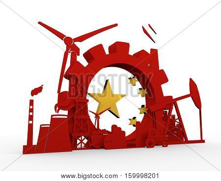 Energy and Power icons set with China flag element. Sustainable energy generation and heavy industry. 3D rendering