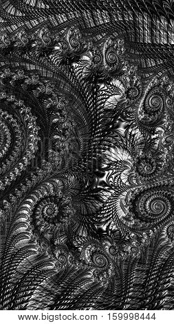 Abstract spiral ornament - computer-generated image. Fractal art: monochrome texture with curls and helix. Backdrop for covers, puzzles, posters.