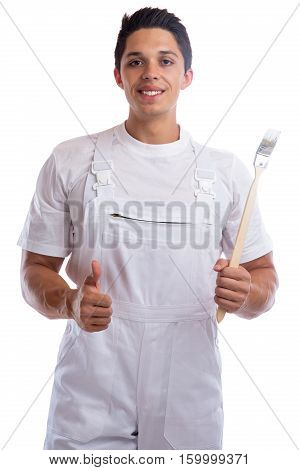 Young House Painter And Decorator Apprentice Thumbs Up Trainee Man Job Isolated
