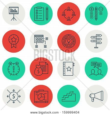 Set Of 16 Project Management Icons. Can Be Used For Web, Mobile, UI And Infographic Design. Includes Elements Such As Growth, Teamwork, Meeting And More.